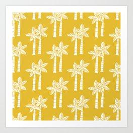 Palm Tree Pattern Mustard Yellow Art Print