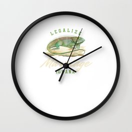 Legalize Marriage Iguana Reptile Reptilia Herpetology Reptilian Cold Blooded Animal Gift Wall Clock
