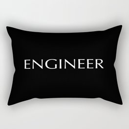 """""""ENGINEER"""" in white letters on a black background. Rectangular Pillow"""