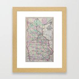Vintage Minnesota & Iowa Railroad Map (1873) Framed Art Print