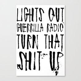 Lights Out, Guerrilla Radio Canvas Print