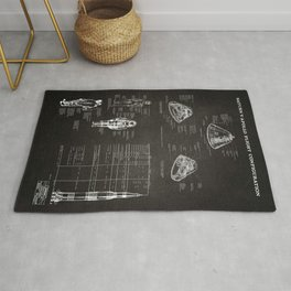 Apollo 11 Saturn V Command Module Blueprint in High Resolution (black) Rug