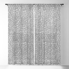 Springtime  - abstract organic flower doodle lineart in black and white Sheer Curtain