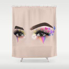 Rainbow Heart Eyeshadow Make-Up Look Shower Curtain