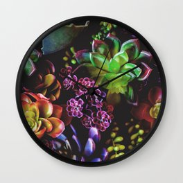 Colorful Succulent Plants Wall Clock