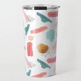 Coral Mint Gold Abstract Art Pattern Travel Mug
