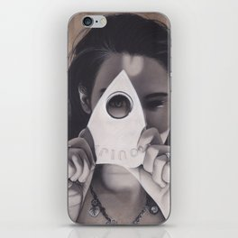 Realism Drawing of Beautiful Woman with Ouija Planchette Piece iPhone Skin