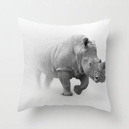 Wild Rhino in Fogs Black and White Photography Art Throw Pillow