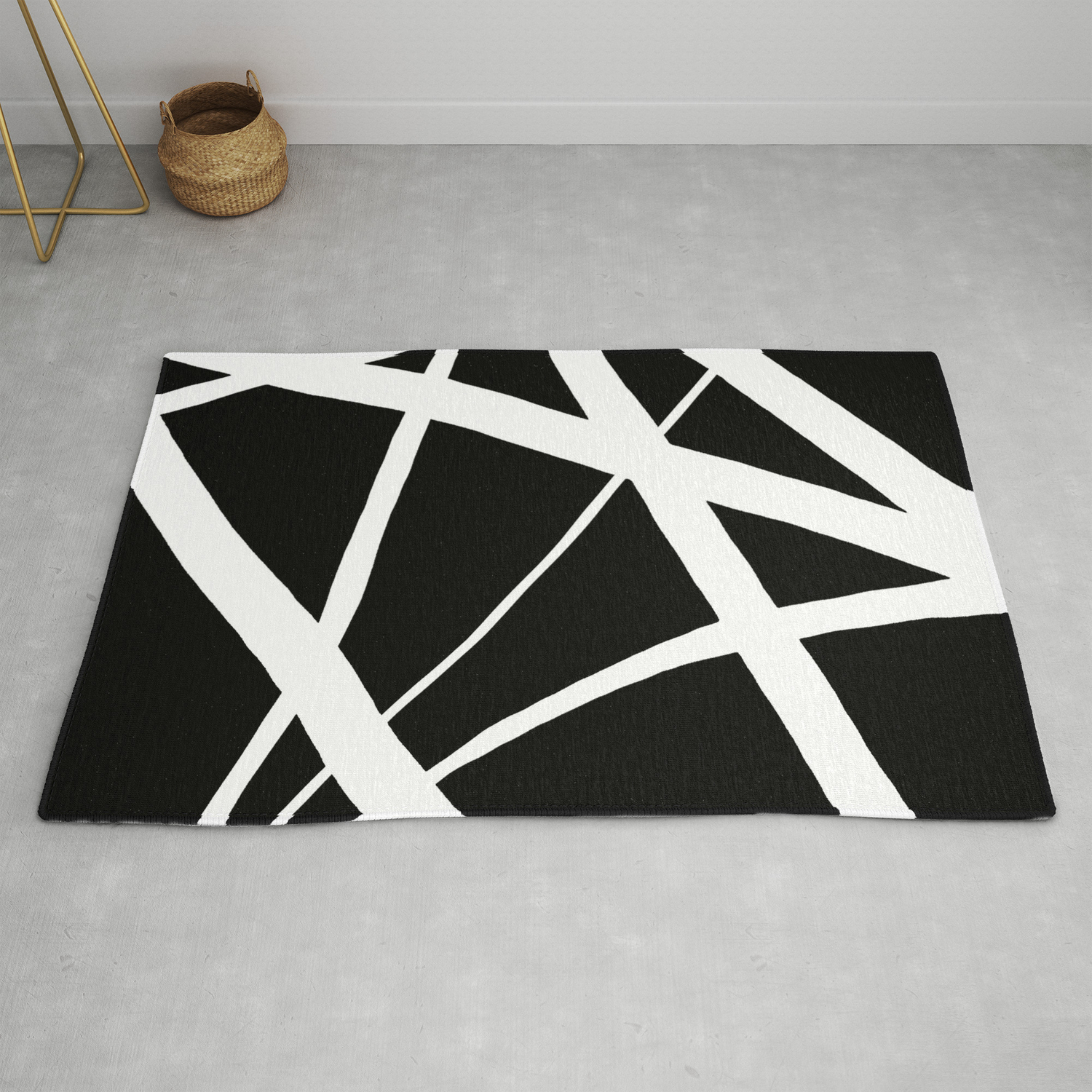 Geometric Line Abstract Black White Rug By Abstractblackwhite