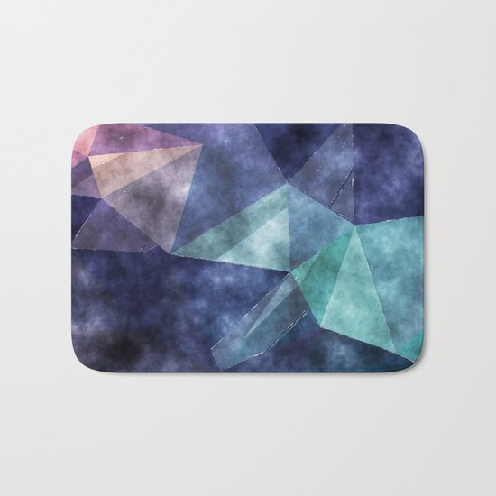 The deep blue sea- Watercolor triangles pattern in blue colors Bath Mat