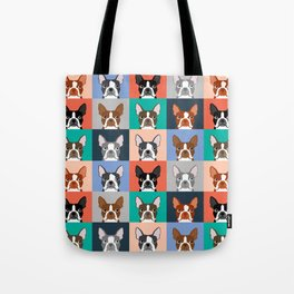 Boston Terriers tile pattern cute boston terrier puppies funny dog breed pet art gift for dog person Tote Bag