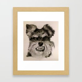 SCHNAUZER PORTRAIT. IMAGE IS MADE ENTIRELY OF DOTS. Framed Art Print