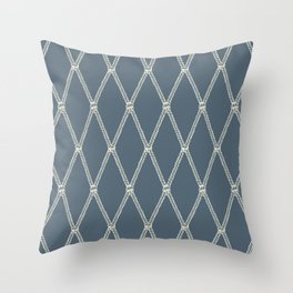 Nautical Fishing Net (Blue-Gray and Beige) Throw Pillow