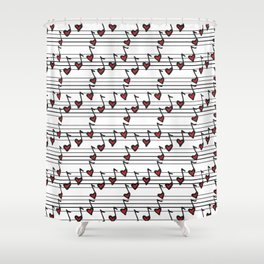pattern with notes like hearts Shower Curtain