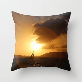 St John Sunset Sail-away Throw Pillow