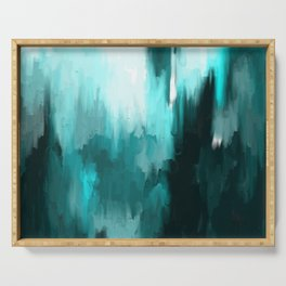 Ocean Water - an Aqua Blue Abstract painting with White Serving Tray