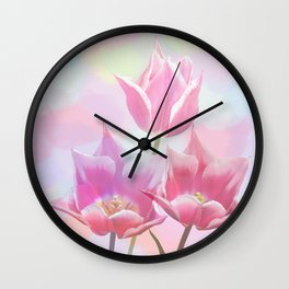 Painterly pastel spring with tulips Wall Clock