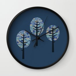 Little forest blue Wall Clock
