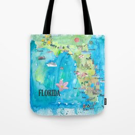 USA Florida State Fine Art Print Retro Vintage Map with Touristic Highlights Tote Bag