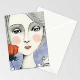 young thinking woman Stationery Cards