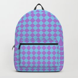Lavender Violet and Baby Blue Diamonds Backpack