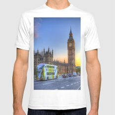 Westminster Bridge Early Evening White MEDIUM Mens Fitted Tee