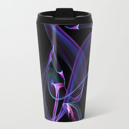 Abstract Purple Light Wave on Black Travel Mug