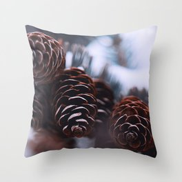 cones snow spruce winter Throw Pillow