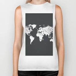 Marble World Map in Black and White Biker Tank