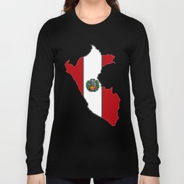 Peru map with Peruvian Flag Long Sleeve T-shirt