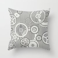 sansa stark Throw Pillows featuring Stark Gears by Samantha Lynn