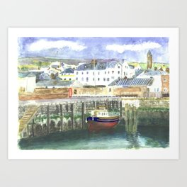Peel Harbour Isle of Man Art Print