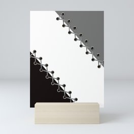 Lacing . Black , white and grey . Mini Art Print