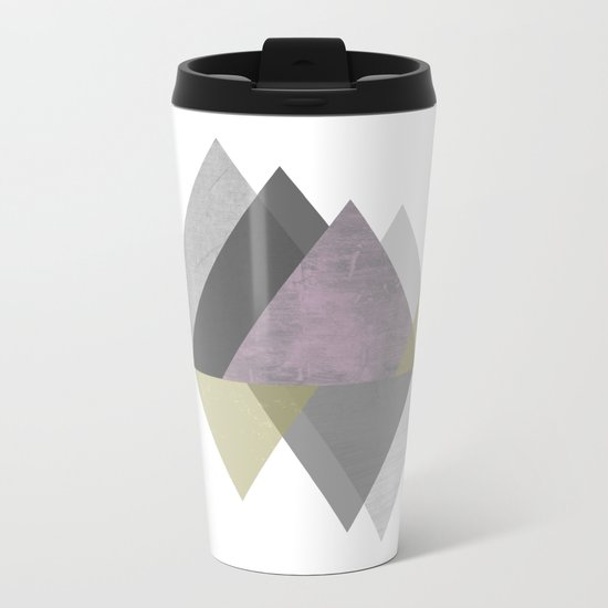 To the Mountains I Must Go, Abstract Geometric Art Metal Travel Mug