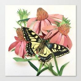 Floral Paper Cut Swallowtail Canvas Print