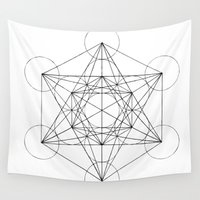 sacred geometry Wall Tapestries featuring Sacred Geometry Print 3 by poindexterity