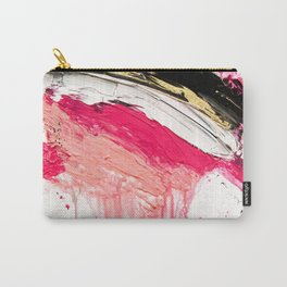 Modern abstract pink black gold brushstrokes splatters acrylic paint Carry-All Pouch