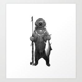 Harpoon Fishing Bear Kunstdrucke
