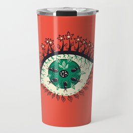 Weird Eye With Leaves And Ants Travel Mug
