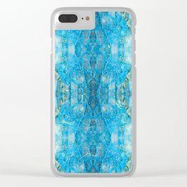 Abstract Kaleidoscope Blue Mineral Crystal Texture Clear iPhone Case