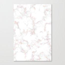 Rose Gold Marble Natural Stone Gold Metallic Veining White Quartz Canvas Print