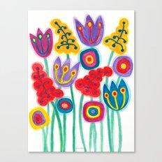 raw flower garden with tulips Canvas Print
