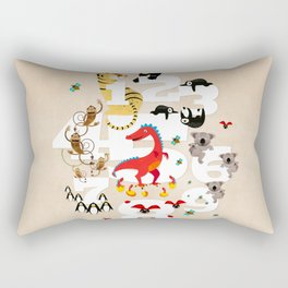 One Two Three Animals in the Kids Room – Illustration for boys and girls Rectangular Pillow