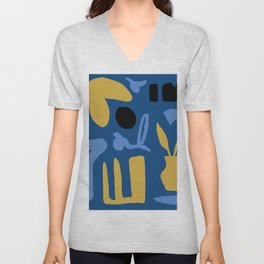 Abstract Classic Blue and Gold Unisex V-Neck