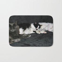 3 cats lounging Bath Mat