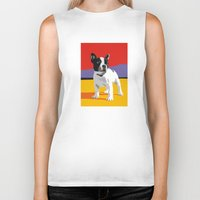 boston terrier Biker Tanks featuring Boston terrier by Matt Mawson