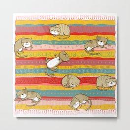 Cats on rug Metal Print