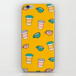 Happy coffee cups and mugs in yellow background iPhone Skin
