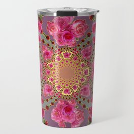 AWESOME PINK-RED ROSES ON  PINK-GREY GARDEN VIGNETTE PATTERN FOR the Travel Mug