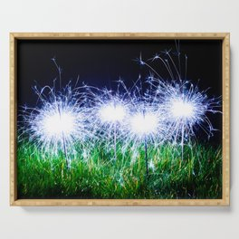 Blue sparklers in the grass Serving Tray